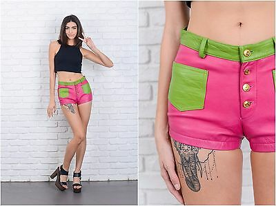 Vintage 90s Pink + Green Leather Shorts Mini shorts Color block low rise XS