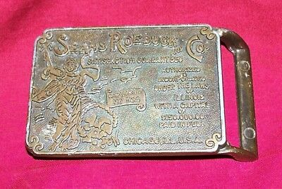 Old Sears Roebuck & Co Brass Belt Buckle Vintage Mens Catalog No 104 Collectible
