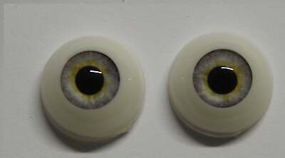 14mm Whispy Grey Round Acrylic Eyes Reborn Baby Doll Making Supplies