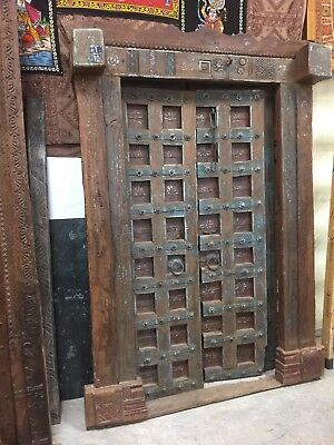 18C India Antique Doors Floral Blue Patina Old Haveli Architecture FARMHOUSECHIC