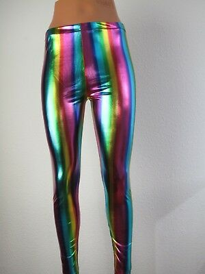 Leggings Wetlook Regenbogenlook Lederoptik Stretch bunt sexy Frauen Männer S-L
