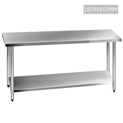 Kitchen Work Bench 430 Stainless Steel Table Restaurant Style Prep Table 1.8m