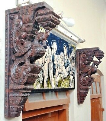 Wall Peacock Bracket Corbel Pair Wooden Bird Vintage bracket Home Art Decor Rare