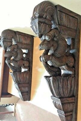 Wall Bracket Corbel Pair Hindu Temple Yalli Architectural Dragon Sculpture Art