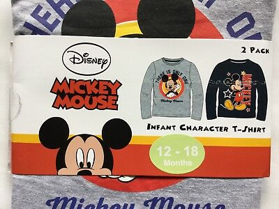 Baby Boy 2 Pack Long Sleeve T Shirts with Mickey Mouse detail 1 Grey& 1 Black