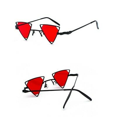2759c78d3fb True Vintage 90s Deadstock Triangle Steampunk Sunglasses Diamond Lenses Red  2018