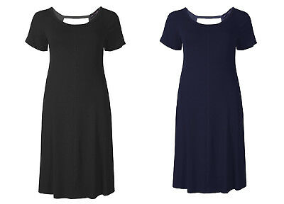 Ex M&S Jersey Cut Out Back Dress Skater Swing Short Sleeve - Black or Navy NEW