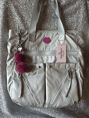 * NWT* JUICY COUTURE Designer Tote Book Bag  Fits Laptop  SILVER