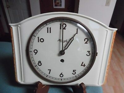 Vtg Art Deco Kienzle Ivory Colored Ceramic Wall Clock w/key needs service 2 work