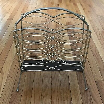 Vintage Retro Brass & Wood Tone Magazine Rack Holder