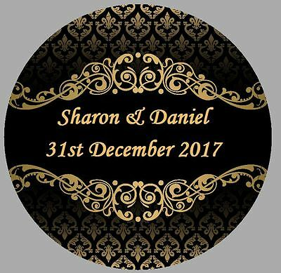 24 x 40mm Personalised Stickers Round Damask Black Gold Effect Vintage Wedding