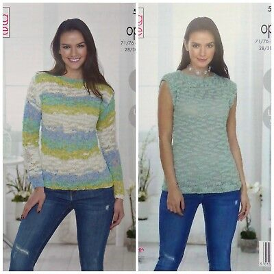 KNITTING PATTERN Womens Easy Knit Jumper and Top Opium Palette 5065 King Cole