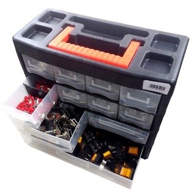 10909 Portable Organizer Tool Box Storage for Screw Nail Nuts Bolts 4/19 Tray