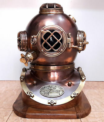 Brass Antique Us Navy Mark V Solid Steel Brass Diving Divers Helmet Scuba Marine