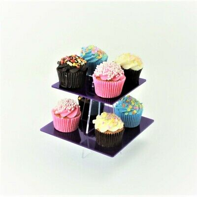 2 Tier Small Square Acrylic Cupcake Stand in 57 Colours - Baking Party Birthday