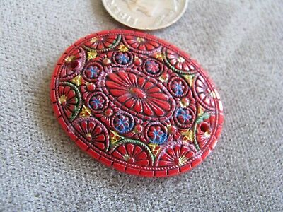 Vintage Czech Egyptian Revival Art Deco Glass Bead Pendant Red Colorful 32x25mm