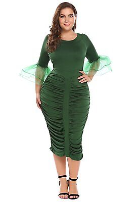 7c3c41ea Zeagoo Womens Plus Size 3/4 Sleeve Ruched Party Cocktail Bodycon Dress