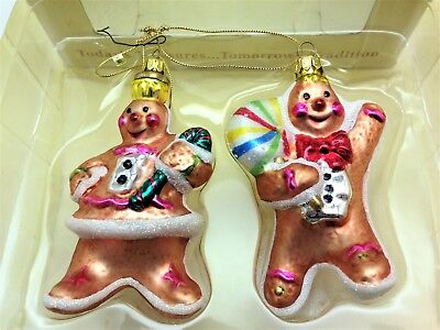 vintage fitz and floyd blown glass christmas ornaments mr mrs gingerbread - Blown Glass Christmas Ornaments