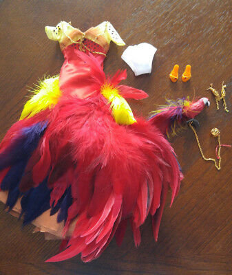 Barbie Doll Unique Gown -'the Scarlet Macaw' - Red Satin With Feathers - Amazing