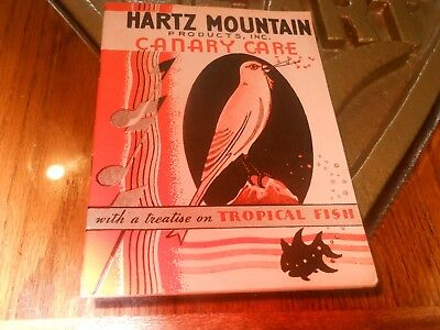 Rare 1933 Hartz Mountain Products Canary Care Booklet Tropical Fish NM E15