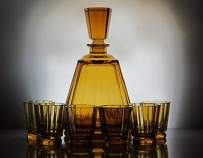 Elegant antique Art Deco Bohemian  amber glass set of decanter and 6 glasses