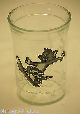 1990 Welch's Tom & Jerry Surfing Jelly Jar Glass Cup Animation Art Character