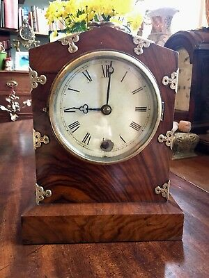 Georgian or Victorian Walnut Bracket Mantle Clock with gilt Mounts GWO Antique