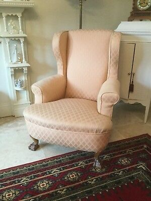 Antique Georgian Wing Back Arm Chair On Claw Feet