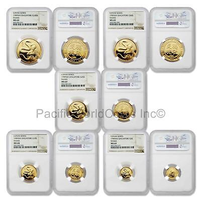 Singapore 1989 Year of the Snake 5pc Gold NGC MS68-69 Set SKU#5674