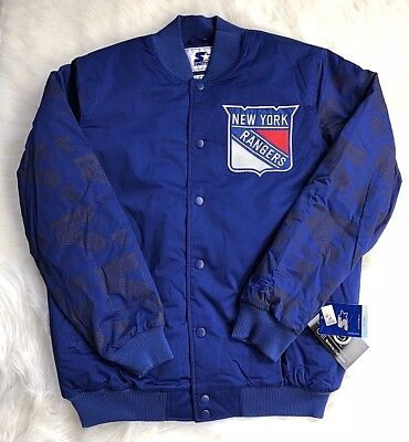 NHL NEW YORK Rangers Vintage Satin Starter Jacket Used Size S Blue ... 0970bbe5ce