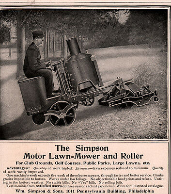 Ad Lot Of 4 Early 1900 Simpson Lawn Mower Roller Steam Powered
