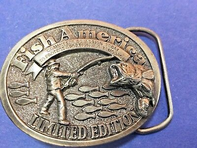 Vintage Fish America Limited Edition Great American Buckle Co   Belt Buckle