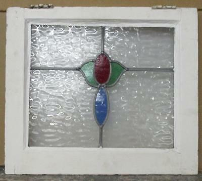 """OLD ENGLISH LEADED STAINED GLASS WINDOW Great Original Floral 21"""" x 18.25"""""""