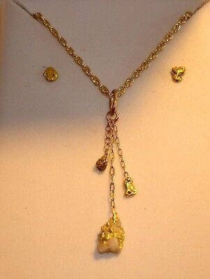 Natural Gold Nugget Pendant & Earring SET! Miner found & miner made!