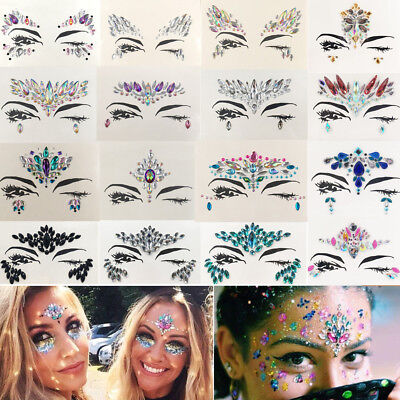 Face Gems Adhesive Glitter Jewel Tattoo Party Festival Rave Party Body Make Up
