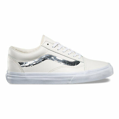 a8a2f1d3ab Vans Old Skool Shiny Sequins Marshmallow Women s 9 Skate Shoes New Leather