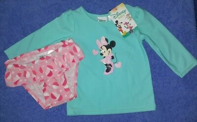 Baby Girls DISNEY Minnie Mouse 2 Piece Swim Set Long Sleeve Rashie Size 00 BNWTS