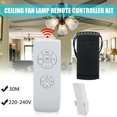 110-240V Universal Ceiling Fan Lamp Speed Remote Control Kit Timing Wireless New