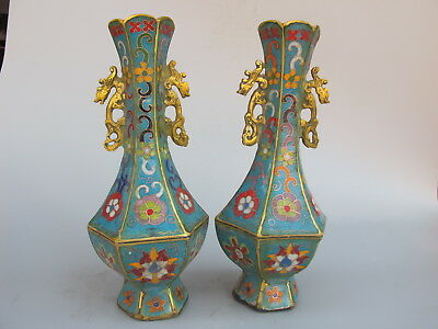 A pair China old handmade kangxi cloisonne enamel gilt double ear dragon vase
