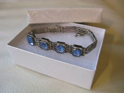 Antique Art Deco Blue Glass STERLING Silver Filigree Book Chain Small Bracelet