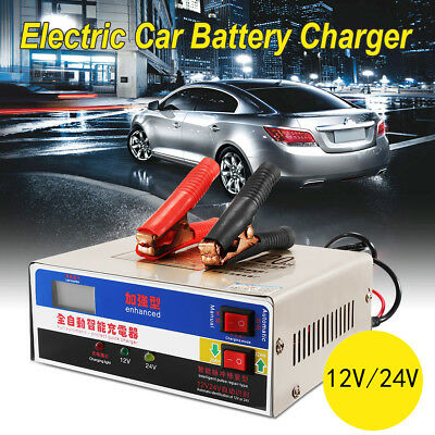 LCD 12V/24V Automotive Dry&Wet Car Battery Charger Intelligent Pulse Repair Kit