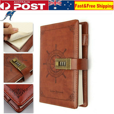 B6 Rudder Brown PU Leather Journal Blank Diary Book Note Book Combination Lock