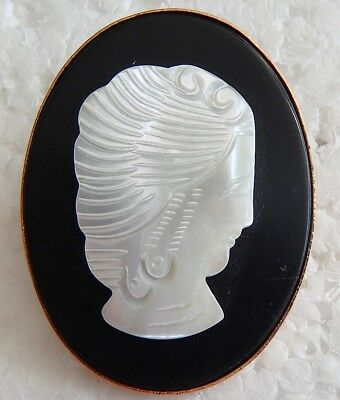 Vintage Gold-Tone Hand Carved Mother Of Pearl Cameo On Black Glass Brooch/Pin