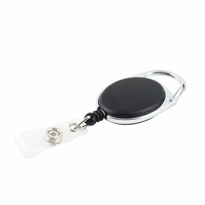 Retractable Reel Key Chain Pull Key ID Card Badge Tag Clip Holder Black 1pc K6