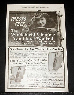1919 Old Magazine Print Ad, Presto-Felt, The Windshield Cleaner You Have Wanted!