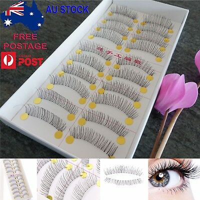 10 Pairs False Reusable Handmade Soft Natural Fake Eyelashes Extension