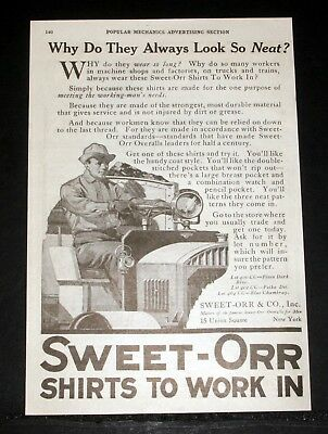 1919 Old Magazine Print Ad, Sweet-Orr Shirts To Work In, They Always Look Neat!
