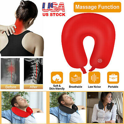 Neck Massage Pillow Vibrating Travel Micro Battery Operated Stress Relief Red