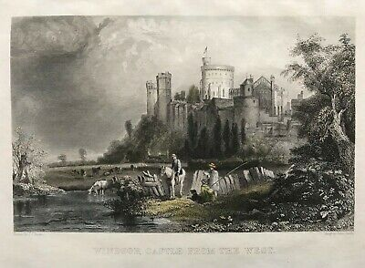 1855 Antique Print;  Windsor Castle from the West after J.C.Brown