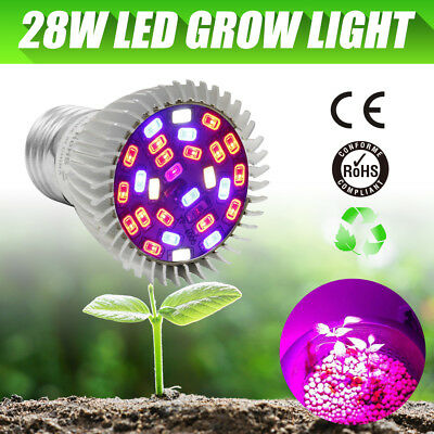 E27 28W Full Spectrum UVIR LED Grow Plant Light for Indoor Hydropoics Greenhouse